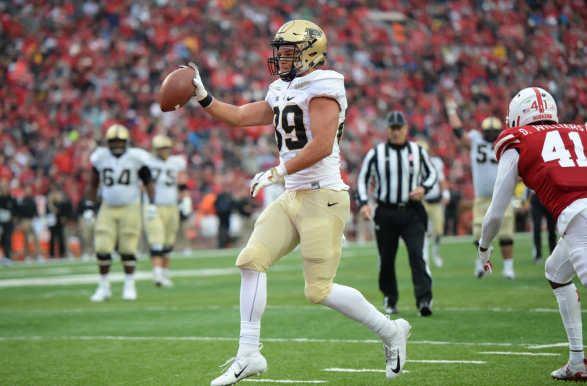 LINCOLN, NE - SEPTEMBER 29: Tight end Brycen Hopkins #89 of the Purdue Boilermakers steps into the end zone for a touchdown in the second half against the Nebraska Cornhuskersat Memorial Stadium on September 29, 2018 in Lincoln, Nebraska. (Photo by Steven Branscombe/Getty Images)