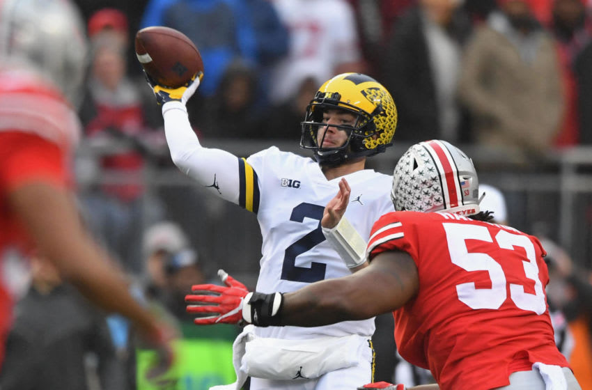 COLUMBUS, OH - NOVEMBER 24: Quarterback Shea Patterson #2 of the Michigan Wolverines passes in the first quarter against the Ohio State Buckeyes at Ohio Stadium on November 24, 2018 in Columbus, Ohio. (Photo by Jamie Sabau/Getty Images)