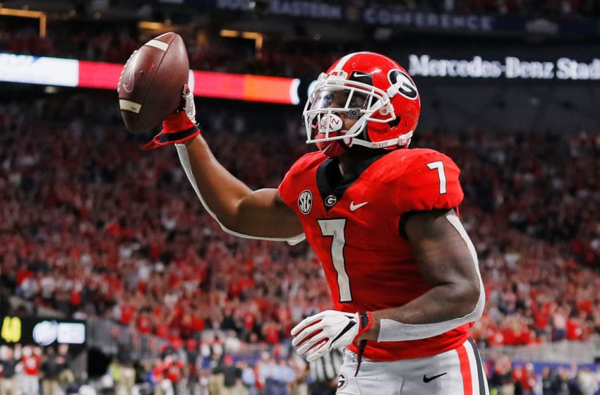 ATLANTA, GA - DECEMBER 01: D'Andre Swift #7 of the Georgia Bulldogs celebrates scoring an 11-yard receiving touchdown in the second quarter against the Alabama Crimson Tide during the 2018 SEC Championship Game at Mercedes-Benz Stadium on December 1, 2018 in Atlanta, Georgia. (Photo by Kevin C. Cox/Getty Images)