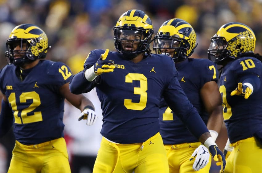 ANN ARBOR, MICHIGAN - NOVEMBER 17: Rashan Gary #3 of the Michigan Wolverines looks on while playing the Indiana Hoosiers at Michigan Stadium on November 17, 2018 in Ann Arbor, Michigan. Michigan won the game 31-20. (Photo by Gregory Shamus/Getty Images)