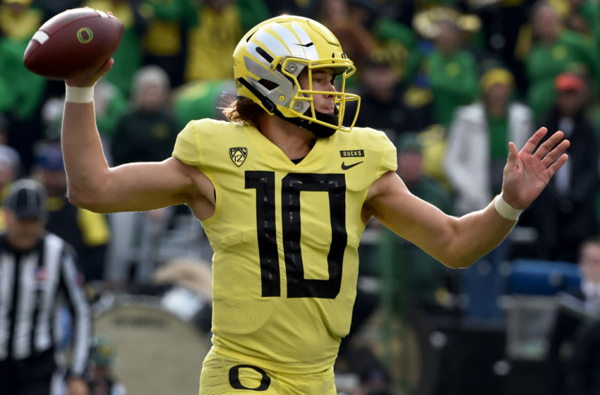CORVALLIS, OREGON - NOVEMBER 23: Quarterback Justin Herbert #10 of the Oregon Ducks passes the ball during the first half of the game against the Oregon State Beavers at Reser Stadium on November 23, 2018 in Corvallis, Oregon. (Photo by Steve Dykes/Getty Images)