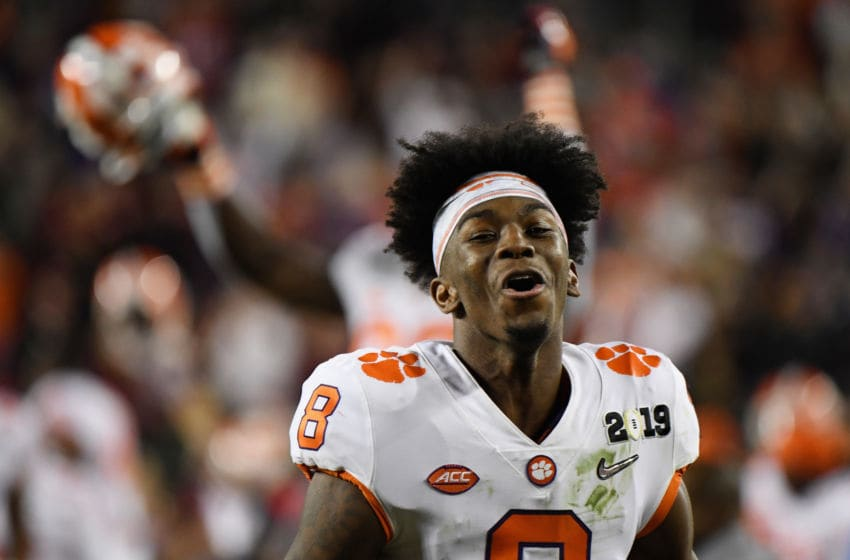 SANTA CLARA, CA - JANUARY 07: Justyn Ross #8 of the Clemson football Tigers reacts to his teams 44-16 win over the Alabama Crimson Tide in the CFP National Championship presented by AT&T at Levi's Stadium on January 7, 2019 in Santa Clara, California. He looked to be a top target in the 2021 NFL Draft. (Photo by Thearon W. Henderson/Getty Images)
