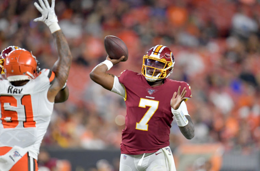 CLEVELAND, OHIO - AUGUST 08: Quarterback Dwayne Haskins #7 of the Washington Redskins passes during the second half of a preseason game against the Cleveland Browns at FirstEnergy Stadium on August 08, 2019 in Cleveland, Ohio. The Browns defeated the Redskins 30-10. (Photo by Jason Miller/Getty Images)
