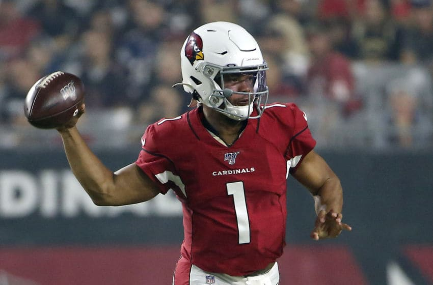 GLENDALE, ARIZONA - AUGUST 08: Quarterback Kyler Murray #1 of the Arizona Cardinals throws a pass against the Los Angeles Chargers during the first half of the NFL pre-season game at State Farm Stadium on August 08, 2019 in Glendale, Arizona. (Photo by Ralph Freso/Getty Images)