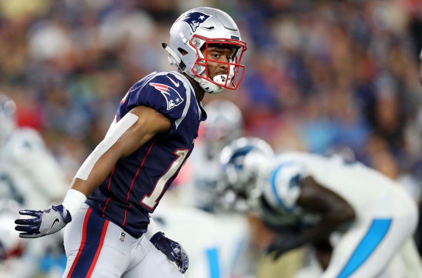 FOXBOROUGH, MASSACHUSETTS - AUGUST 22: Jakobi Meyers #16 of the New England Patriots lines up during the preseason game between the Carolina Panthers and the New England Patriots at Gillette Stadium on August 22, 2019 in Foxborough, Massachusetts. (Photo by Maddie Meyer/Getty Images)