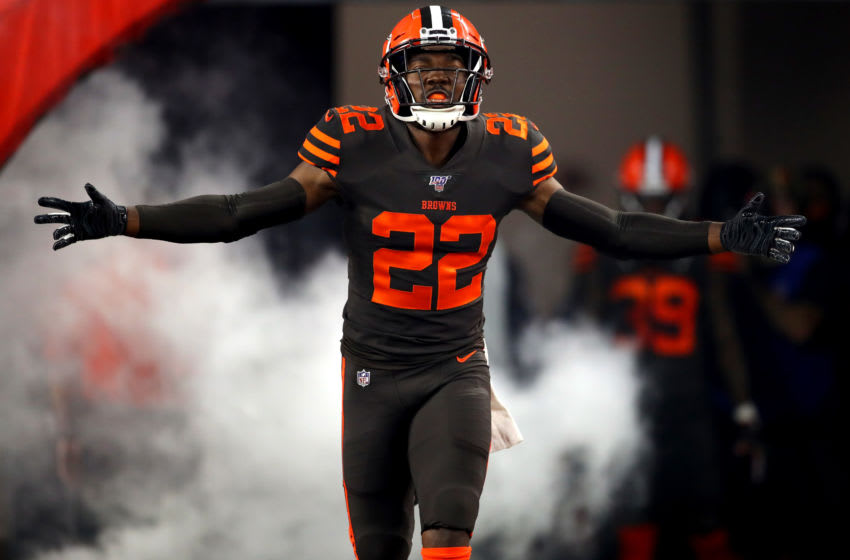 CLEVELAND, OHIO - SEPTEMBER 22: Safety Eric Murray #22 of the Cleveland Browns enters the field to take on the Los Angeles Rams in the game at FirstEnergy Stadium on September 22, 2019 in Cleveland, Ohio. (Photo by Gregory Shamus/Getty Images)