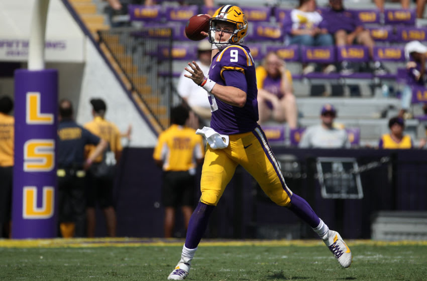 BATON ROUGE, LOUISIANA - OCTOBER 05: Quarterback Joe Burrow #9 of the LSU Tigers looks to throw ball against the Utah State Aggiesat Tiger Stadium on October 05, 2019 in Baton Rouge, Louisiana. (Photo by Chris Graythen/Getty Images)