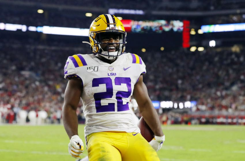 TUSCALOOSA, ALABAMA - NOVEMBER 09: Clyde Edwards-Helaire #22 of the LSU Tigers reacts after rushing for a 5-yard touchdown during the fourth quarter against the Alabama Crimson Tide in the game at Bryant-Denny Stadium on November 09, 2019 in Tuscaloosa, Alabama. (Photo by Kevin C. Cox/Getty Images)