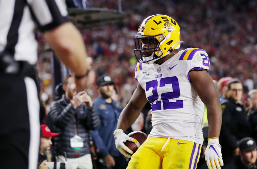 TUSCALOOSA, ALABAMA - NOVEMBER 09: Clyde Edwards-Helaire #22 of the LSU Tigers celebrates scoring a 7-yard touchdown during the fourth quarter against the Alabama Crimson Tide in the game at Bryant-Denny Stadium on November 09, 2019 in Tuscaloosa, Alabama. (Photo by Todd Kirkland/Getty Images)