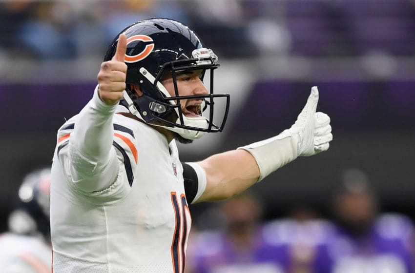 MINNEAPOLIS, MINNESOTA - DECEMBER 29: Mitchell Trubisky #10 of the Chicago Bears calls a play at the line of scrimmage Minnesota Vikings during the second quarter of the game at U.S. Bank Stadium on December 29, 2019 in Minneapolis, Minnesota. (Photo by Hannah Foslien/Getty Images)