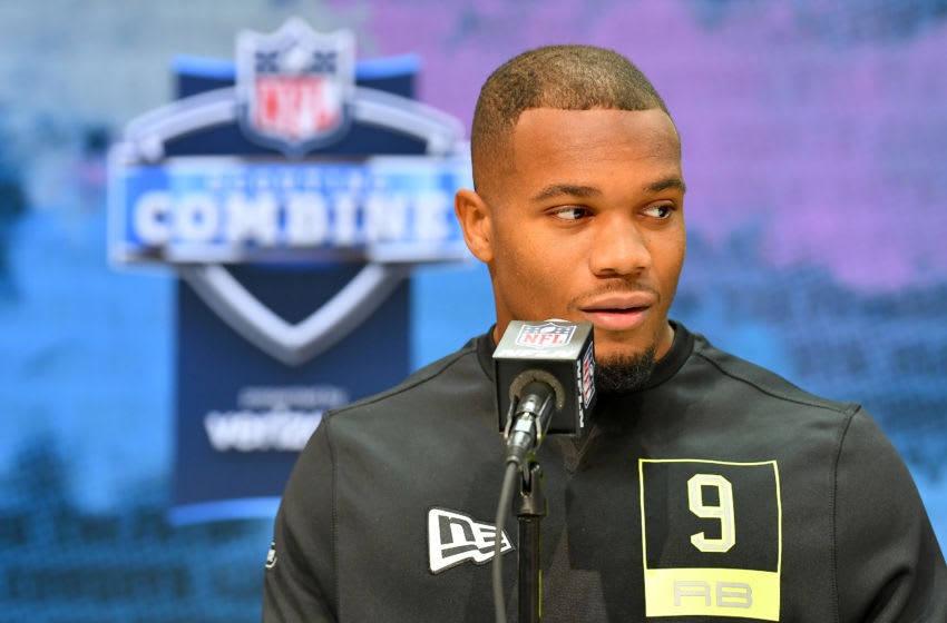 INDIANAPOLIS, INDIANA - FEBRUARY 26: J K Dobbins #RB09 of the Ohio State interviews during the second day of the 2020 NFL Scouting Combine at Lucas Oil Stadium on February 26, 2020 in Indianapolis, Indiana. (Photo by Alika Jenner/Getty Images)