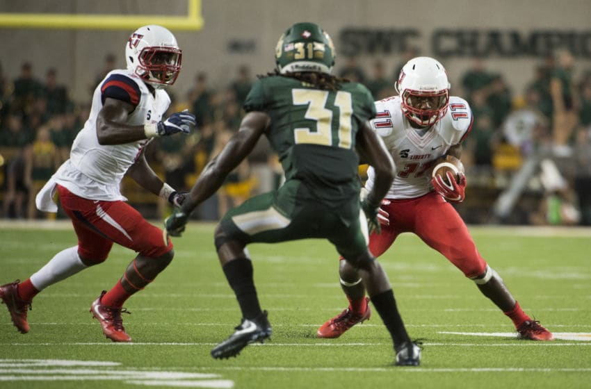 WACO, TX - SEPTEMBER 2: Antonio Gandy-Golden #11 of the Liberty Flames breaks free against the Baylor Bears during the second half at McLane Stadium on September 2, 2017 in Waco, Texas. (Photo by Cooper Neill/Getty Images)