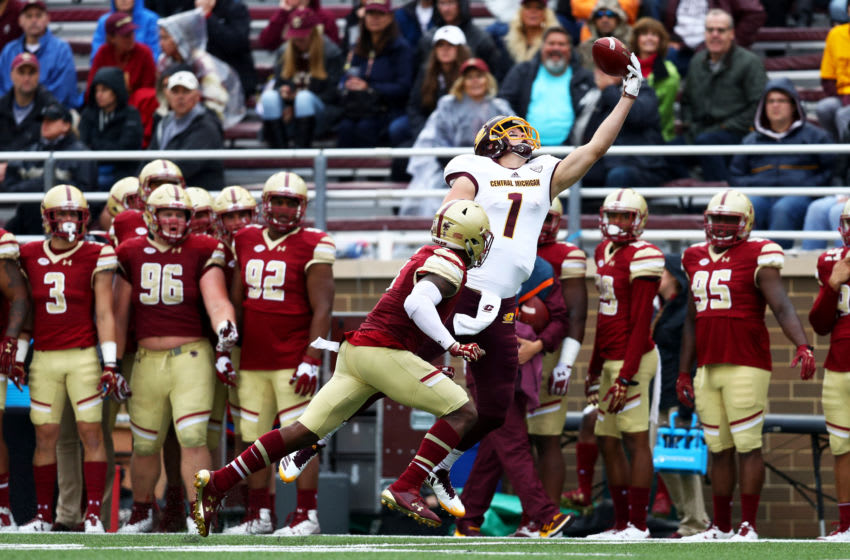 CHESTNUT HILL, MA - SEPTEMBER 30: Tony Poljan #1 of the Central Michigan Chippewas makes a catch over Will Harris #8 of the Boston College Eagles during the second half at Alumni Stadium on September 30, 2017 in Chestnut Hill, Massachusetts. (Photo by Maddie Meyer/Getty Images)