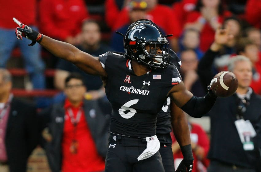 CINCINNATI, OH - SEPTEMBER 30: Perry Young #6 of the Cincinnati Bearcats celebrates after recovering a fumble against the Marshall Thundering Herd at Nippert Stadium on September 30, 2017 in Cincinnati, Ohio. (Photo by Michael Reaves/Getty Images)