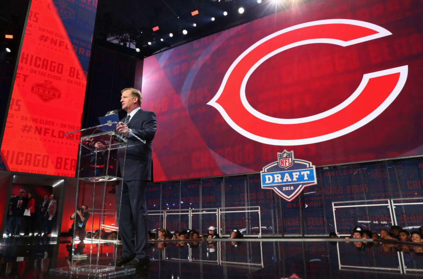 ARLINGTON, TX - APRIL 26: NFL Commissioner Roger Goodell announces a pick by the Chicago Bears during the first round of the 2018 NFL Draft at AT&T Stadium on April 26, 2018 in Arlington, Texas. (Photo by Tom Pennington/Getty Images)