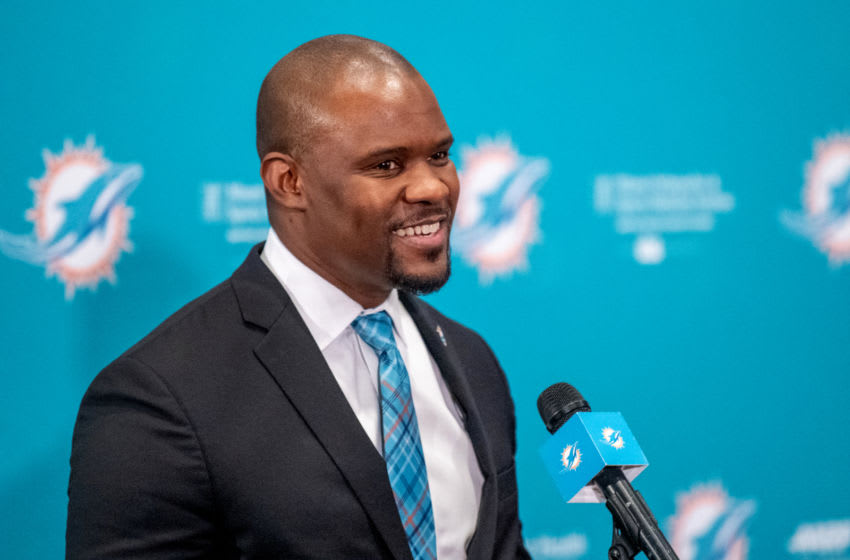 DAVIE, FL - FEBRUARY 04: Brian Flores speaks during a press conference as he is introduced as the new Head Coach of the Miami Dolphins at Baptist Health Training Facility at Nova Southern University on February 4, 2019 in Davie, Florida. (Photo by Mark Brown/Getty Images)