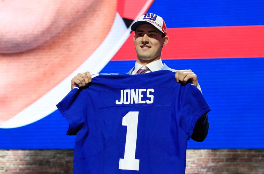 NASHVILLE, TENNESSEE - APRIL 25: Daniel Jones of Duke reacts after being chosen #6 overall by the New York Giants during the first round of the 2019 NFL Draft on April 25, 2019 in Nashville, Tennessee. (Photo by Andy Lyons/Getty Images)