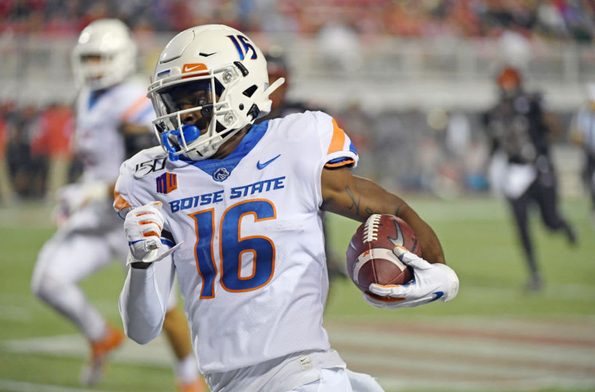 LAS VEGAS, NEVADA - OCTOBER 05: Wide receiver John Hightower #16 of the Boise State Broncos runs for a 35-yard gain against the UNLV Rebels during their game at Sam Boyd Stadium on October 5, 2019 in Las Vegas, Nevada. The Broncos defeated the Rebels 38-13. (Photo by Ethan Miller/Getty Images)