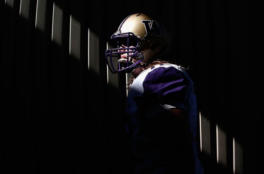 TEMPE, AZ - NOVEMBER 14: Offensive lineman Trey Adams #72 of the Washington Huskies walks out to the field before the college football game against the Arizona State Sun Devils at Sun Devil Stadium on November 14, 2015 in Tempe, Arizona. (Photo by Christian Petersen/Getty Images)