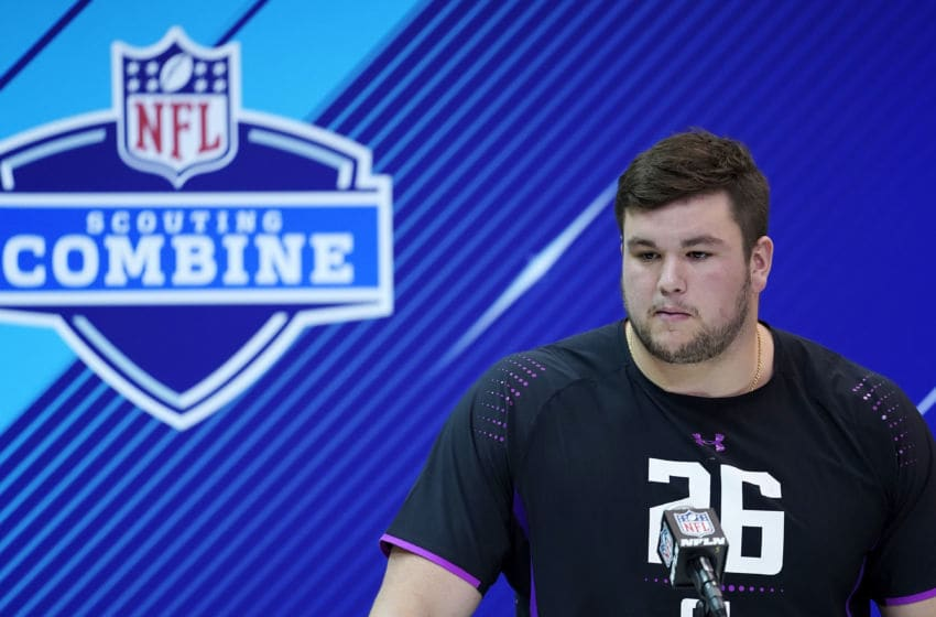 INDIANAPOLIS, IN - MARCH 01: Notre Dame offensive lineman Quenton Nelson speaks to the media during NFL Combine press conferences at the Indiana Convention Center on March 1, 2018 in Indianapolis, Indiana. (Photo by Joe Robbins/Getty Images)