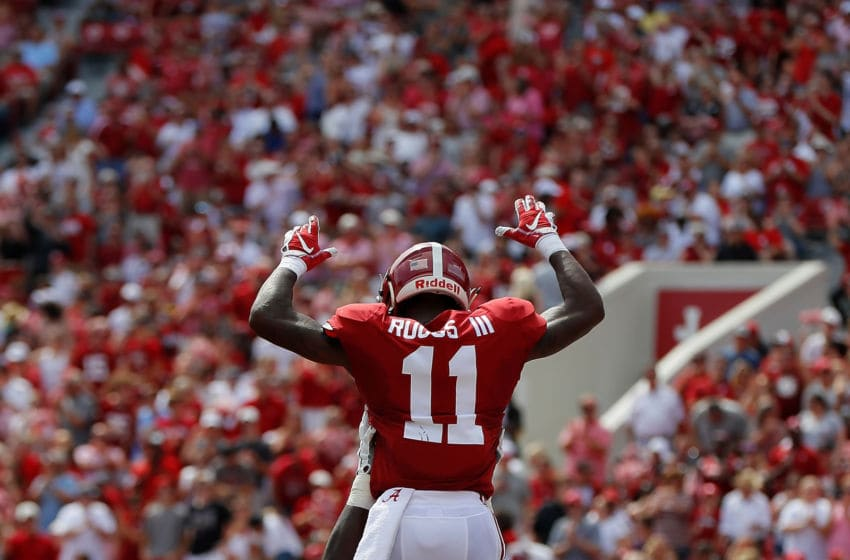 TUSCALOOSA, AL - SEPTEMBER 08: Henry Ruggs III #11 of the Alabama Crimson Tide reacts after scoring a touchdown against the Arkansas State Red Wolves at Bryant-Denny Stadium on September 8, 2018 in Tuscaloosa, Alabama. (Photo by Kevin C. Cox/Getty Images)