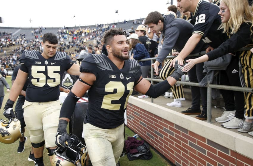 WEST LAFAYETTE, IN - SEPTEMBER 22: Markus Bailey #21 of the Purdue Boilermakers celebrates with fans after the game against the Boston College Eagles at Ross-Ade Stadium on September 22, 2018 in West Lafayette, Indiana. Purdue won 30-13. (Photo by Joe Robbins/Getty Images)