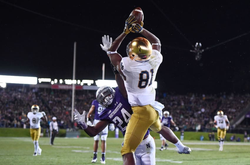 EVANSTON, IL - NOVEMBER 03: Miles Boykin #81 of the Notre Dame Fighting Irish catches a pass for a touchdown over Montre Hartage #24 of the Northwestern Wildcats during the second half of a game at Ryan Field on November 3, 2018 in Evanston, Illinois. (Photo by Stacy Revere/Getty Images)