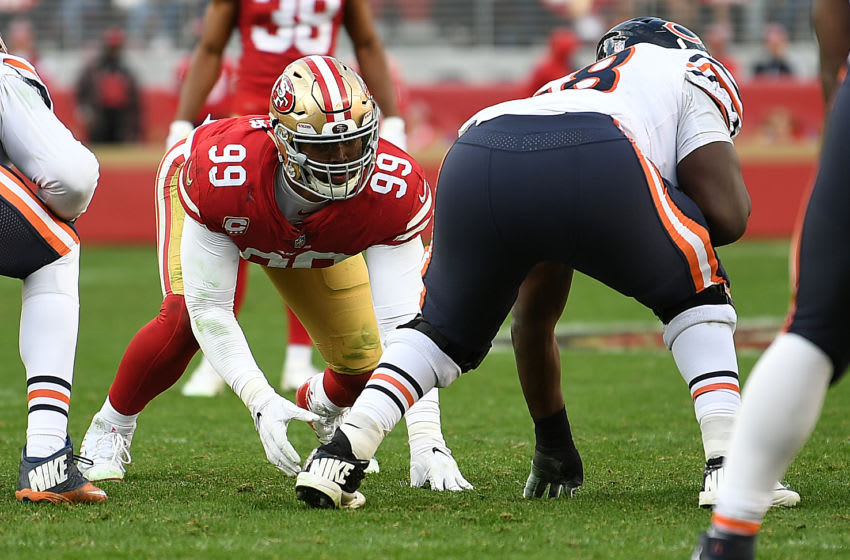 SANTA CLARA, CA - DECEMBER 23: DeForest Buckner #99 of the San Francisco 49ers lines up against the Chicago Bears during their NFL game at Levi's Stadium on December 23, 2018 in Santa Clara, California. (Photo by Robert Reiners/Getty Images)