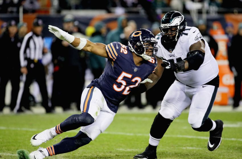 CHICAGO, IL - JANUARY 06: Khalil Mack #52 of the Chicago Bears rushes against Jason Peters #71 of the Philadelphia Eagles during an NFC Wild Card playoff game at Soldier Field on January 6, 2019 in Chicago, Illinois. The Eagles defeated the Bears 16-15. (Photo by Jonathan Daniel/Getty Images)