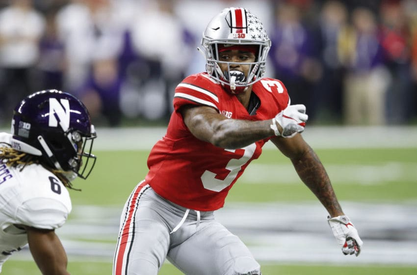 INDIANAPOLIS, IN - DECEMBER 01: Damon Arnette #3 of the Ohio State Buckeyes in action during the Big Ten Championship game against the Northwestern Wildcats at Lucas Oil Stadium on December 1, 2018 in Indianapolis, Indiana. Ohio State won 45-24. (Photo by Joe Robbins/Getty Images)