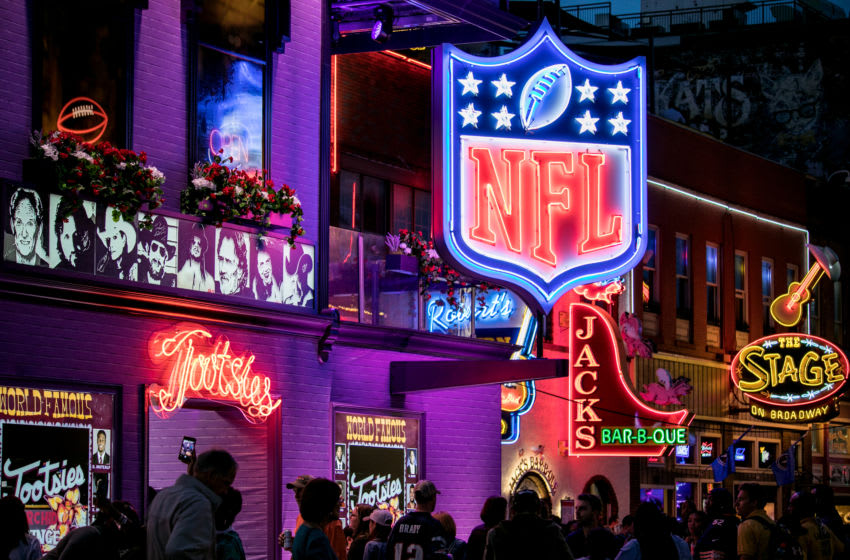 NASHVILLE, TN - APRIL 27: NFL signage seen around Nashville during the St. Jude Rock 'n' Roll Marathon and ½ Marathon and the 2019 NFL Draft Experience on April 27, 2019 in Nashville, Tennessee. (Photo by Danielle Del Valle/Getty Images)