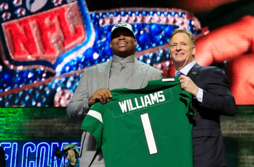 NASHVILLE, TENNESSEE - APRIL 25: Quinnen Williams of Alabama poses with NFL Commissioner Roger Goodell after he was picked #3 overall by the New York Jets during the first round of the 2019 NFL Draft on April 25, 2019 in Nashville, Tennessee. (Photo by Andy Lyons/Getty Images)