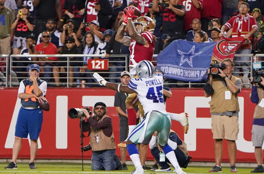 SANTA CLARA, CA - AUGUST 10: Jalen Hurd #17 of the San Francisco 49ers catches a touchdown pass against the Dallas Cowboys during the fourth quarter of a preseason NFL football game at Levi's Stadium on August 10, 2019 in Santa Clara, California. The 49ers won the game 17-9. (Photo by Thearon W. Henderson/Getty Images)