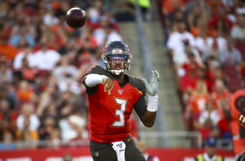 TAMPA, FL - AUGUST 23: Jameis Winston #3 of the Tampa Bay Buccaneers completes the pass to Chris Godwin #12 in the first quarter of the preseason game against the Cleveland Browns at Raymond James Stadium on August 23, 2019 in Tampa, Florida. (Photo by Will Vragovic/Getty Images)