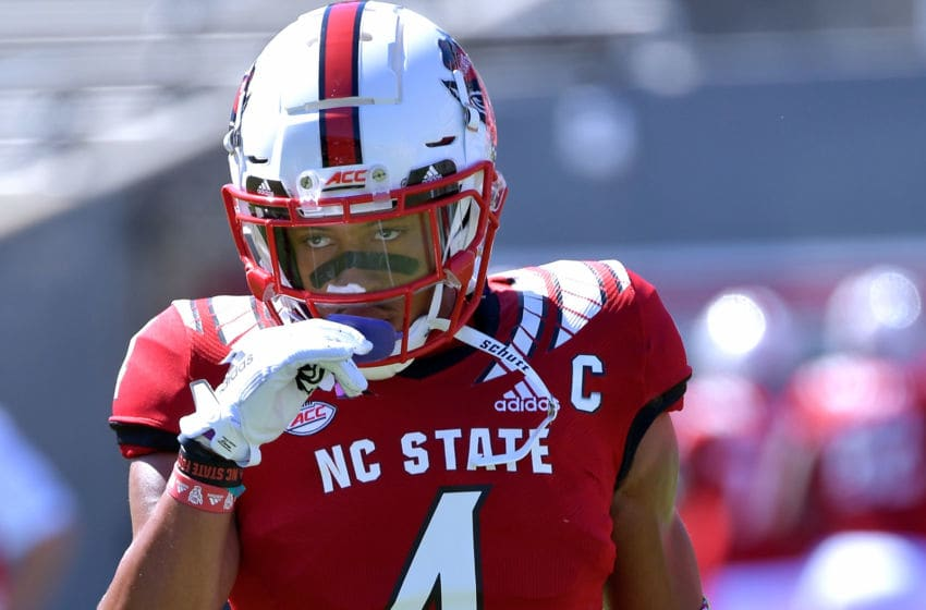 RALEIGH, NORTH CAROLINA - AUGUST 31: Nick McCloud #4 of the North Carolina State Wolfpack warms up before their game against the East Carolina Pirates at Carter-Finley Stadium on August 31, 2019 in Raleigh, North Carolina. (Photo by Grant Halverson/Getty Images)