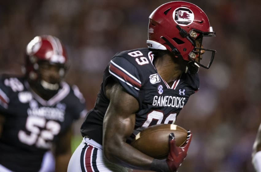 COLUMBIA, SC - SEPTEMBER 28: Bryan Edwards #89 of the South Carolina Gamecocks rushes after a reception during the first half of a game against the Kentucky Wildcats at Williams-Brice Stadium on September 28, 2019 in Columbia, South Carolina. (Photo by Carmen Mandato/Getty Images)