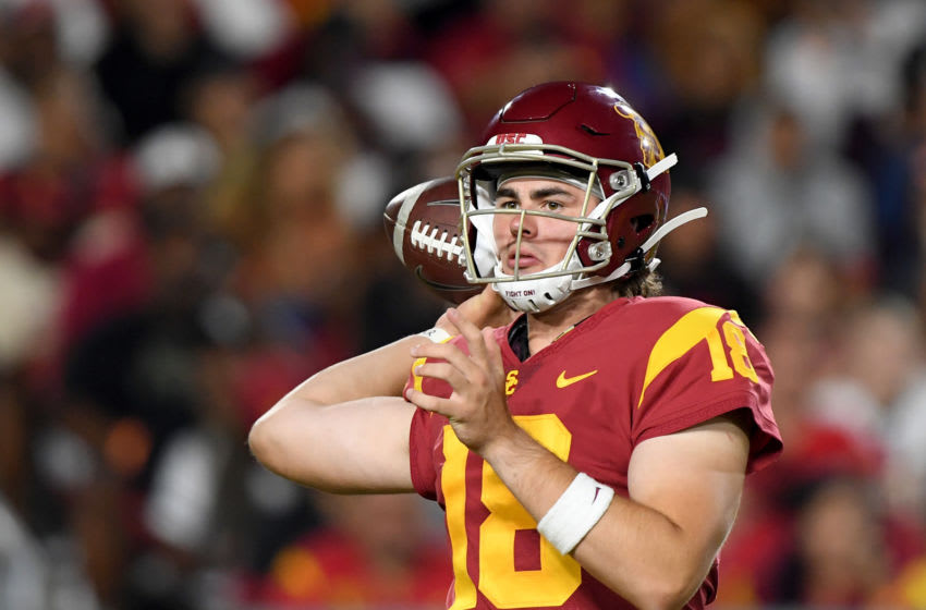 LOS ANGELES, CALIFORNIA - AUGUST 31: JT Daniels #18 of the USC Trojans passes during the game against the Fresno State Bulldogs at Los Angeles Memorial Coliseum on August 31, 2019 in Los Angeles, California. (Photo by Harry How/Getty Images)