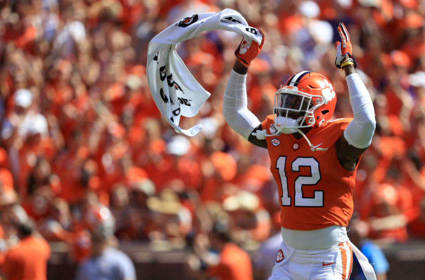 CLEMSON, SOUTH CAROLINA - SEPTEMBER 07: K'Von Wallace #12 of the Clemson Tigers reacts with the crowd against the Texas A&M Aggies during their game at Memorial Stadium on September 07, 2019 in Clemson, South Carolina. (Photo by Streeter Lecka/Getty Images)