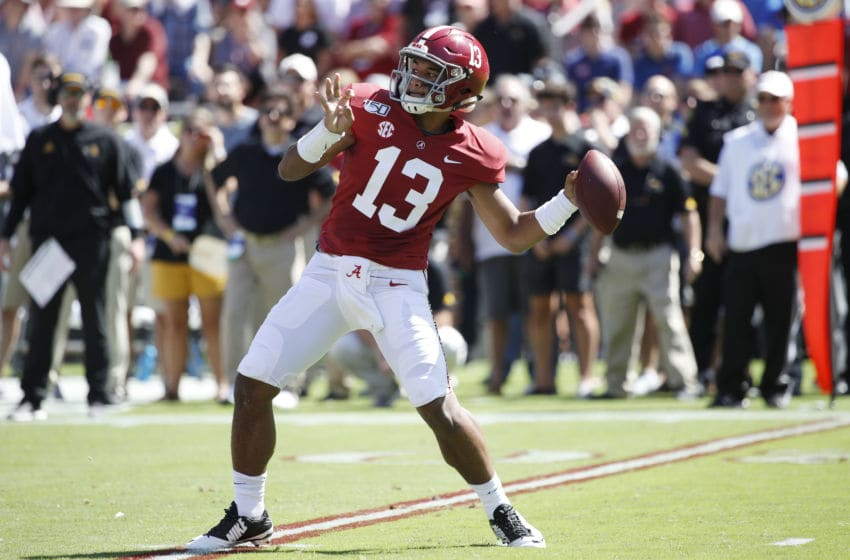 TUSCALOOSA, AL - SEPTEMBER 21: Tua Tagovailoa #13 of the Alabama Crimson Tide throws a pass in the first quarter against the Southern Mississippi Golden Eagles at Bryant-Denny Stadium on September 21, 2019 in Tuscaloosa, Alabama. (Photo by Joe Robbins/Getty Images)
