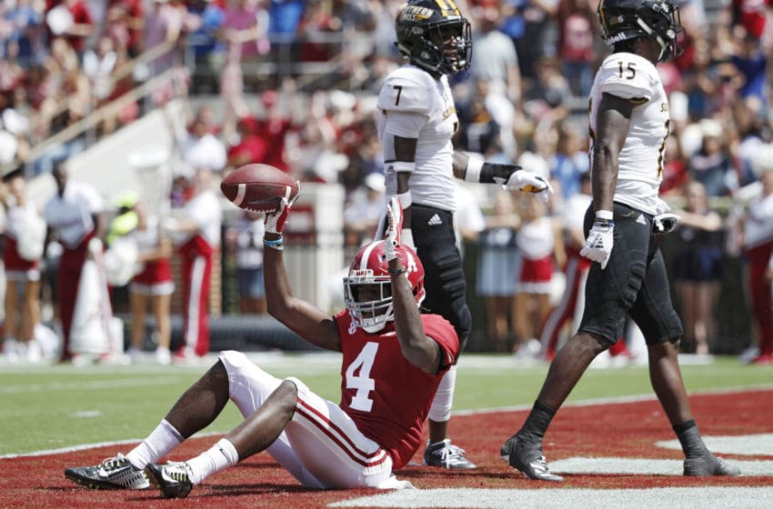 TUSCALOOSA, AL - SEPTEMBER 21: Jerry Jeudy #4 of the Alabama Crimson Tide celebrates after a 20-yard touchdown reception in the third quarter against the Southern Mississippi Golden Eagles at Bryant-Denny Stadium on September 21, 2019 in Tuscaloosa, Alabama. Alabama defeated Southern Miss 49-7. (Photo by Joe Robbins/Getty Images)