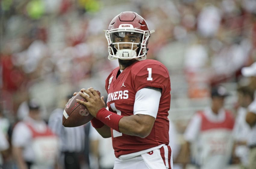 NORMAN, OK - SEPTEMBER 28: Quarterback Jalen Hurts #1 of the Oklahoma Sooners warms up before the game against the Texas Tech Red Raiders at Gaylord Family Oklahoma Memorial Stadium on September 28, 2019 in Norman, Oklahoma. The Sooners defeated the Red Raiders 55-16. (Photo by Brett Deering/Getty Images)