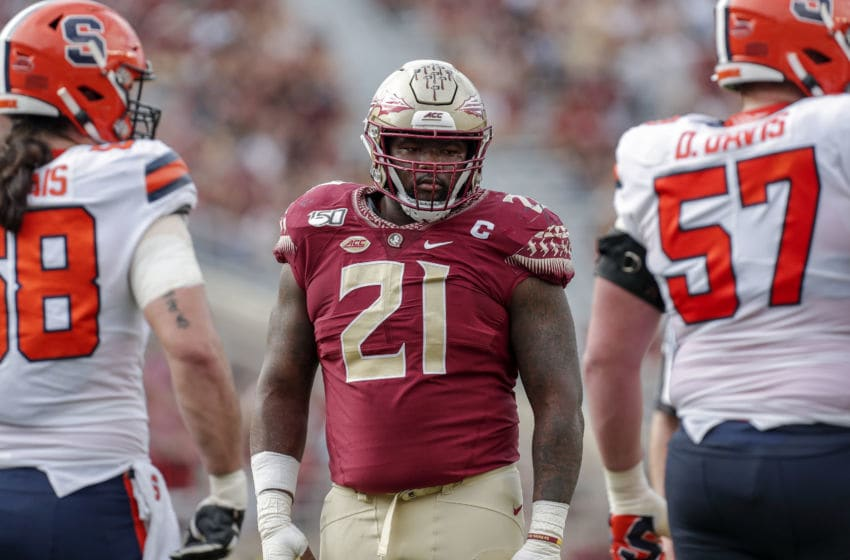 TALLAHASSEE, FL - OCTOBER 26: Defensive Tackle Marvin Wilson #21 of the Florida State Seminoles during the game against the Syracuse Orange at Doak Campbell Stadium on Bobby Bowden Field on October 26, 2019 in Tallahassee, Florida. The Seminoles defeated the Orange 35 to 17. (Photo by Don Juan Moore/Getty Images)
