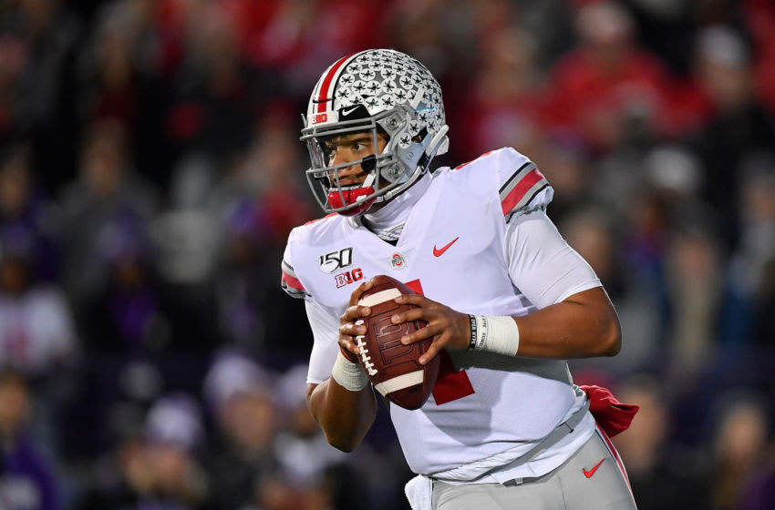 EVANSTON, ILLINOIS - OCTOBER 18: Justin Fields #1 of the Ohio State Buckeyes looks to pass the football in the first quarter against the Northwestern Wildcats at Ryan Field on October 18, 2019 in Evanston, Illinois. (Photo by Quinn Harris/Getty Images)