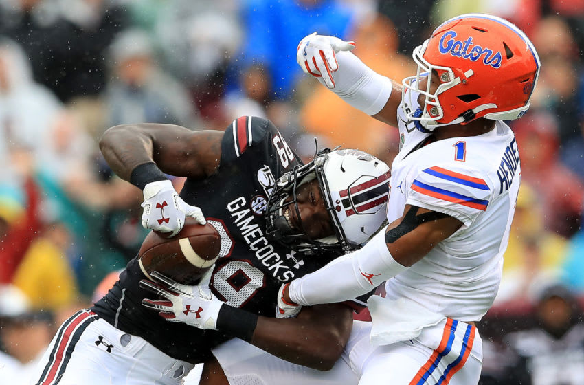 COLUMBIA, SOUTH CAROLINA - OCTOBER 19: Bryan Edwards #89 of the South Carolina Gamecocks makes a catch against CJ Henderson #1 of the Florida Gators during their game at Williams-Brice Stadium on October 19, 2019 in Columbia, South Carolina. (Photo by Streeter Lecka/Getty Images)