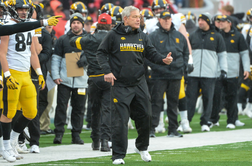 LINCOLN, NE - NOVEMBER 29: Head coach Kirk Ferentz of the Iowa Hawkeyes cheers a touchdown against the Nebraska Cornhuskers at Memorial Stadium on November 29, 2019 in Lincoln, Nebraska. (Photo by Steven Branscombe/Getty Images)