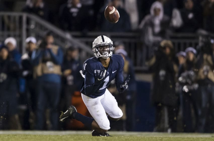 STATE COLLEGE, PA - NOVEMBER 30: KJ Hamler #1 of the Penn State Nittany Lions attempts to catch a pass against the Rutgers Scarlet Knights during the second half at Beaver Stadium on November 30, 2019 in State College, Pennsylvania. (Photo by Scott Taetsch/Getty Images)