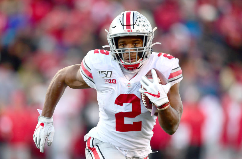 PISCATAWAY, NEW JERSEY - NOVEMBER 16: J.K. Dobbins #2 of the Ohio State Buckeyes runs the ball for a touchdown in the first quarter of their game against the Rutgers Scarlet Knights at SHI Stadium on November 16, 2019 in Piscataway, New Jersey. (Photo by Emilee Chinn/Getty Images)