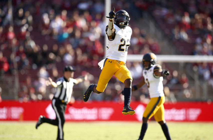 PALO ALTO, CALIFORNIA - NOVEMBER 23: Traveon Beck #22 of the California Golden Bears reacts after he thought he had intercepted a pass against the Stanford Cardinal at Stanford Stadium on November 23, 2019 in Palo Alto, California. The pass was ruled incomplete on the play. (Photo by Ezra Shaw/Getty Images)