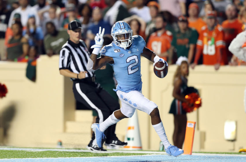 CHAPEL HILL, NC - SEPTEMBER 07: Dyami Brown #2 of the University of North Carolina catches a touchdown pass during a game between University of Miami and University of North Carolina at Kenan Memorial Stadium on September 07, 2019 in Chapel Hill, North Carolina. (Photo by Andy Mead/ISI Photos/Getty Images)