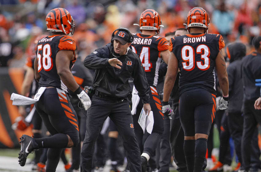 CINCINNATI, OH - DECEMBER 29: Head coach Zac Taylor celebrates with Carl Lawson #58 of the Cincinnati Bengals during the second half against the Cleveland Browns at Paul Brown Stadium on December 29, 2019 in Cincinnati, Ohio. (Photo by Michael Hickey/Getty Images)